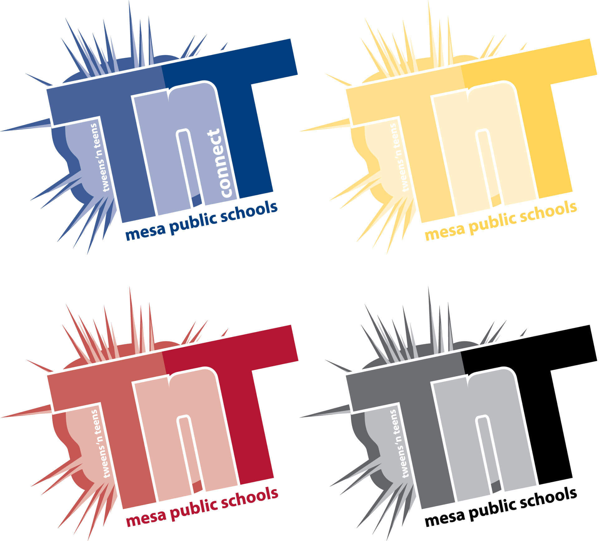 Primary color designs for TNT logo